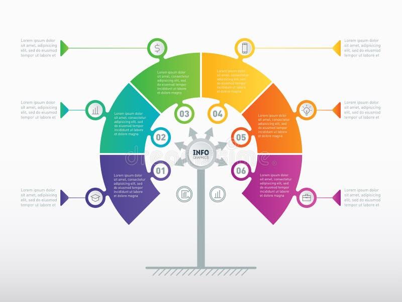 Διανυσματικός infographic της διαδικασίας τεχνολογίας ή εκπαίδευσης με το ste 6 ελεύθερη απεικόνιση δικαιώματος
