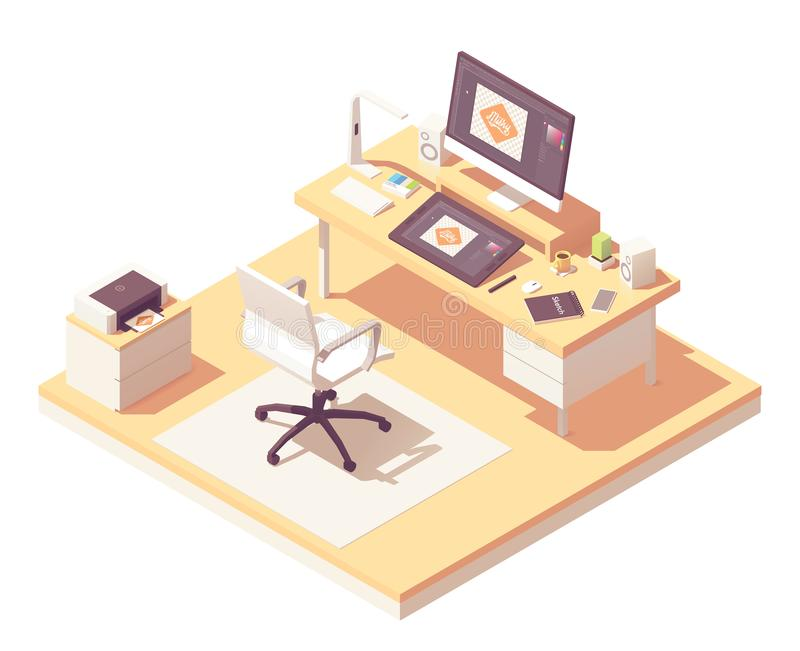 Διανυσματικός isometric γραφικός εργασιακός χώρος σχεδιαστών διανυσματική απεικόνιση