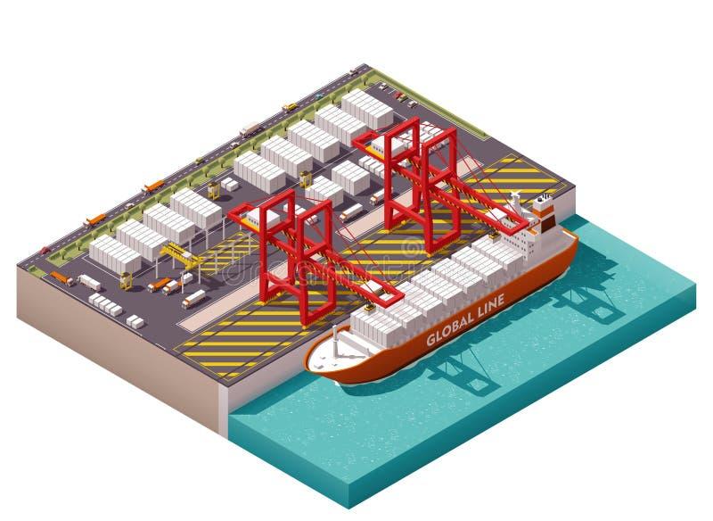 Διανυσματικός isometric λιμένας φορτίου διανυσματική απεικόνιση