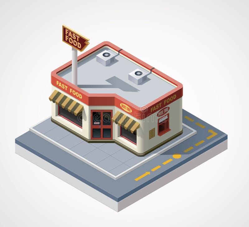 Διανυσματικός isometric καφές γρήγορου φαγητού απεικόνιση αποθεμάτων