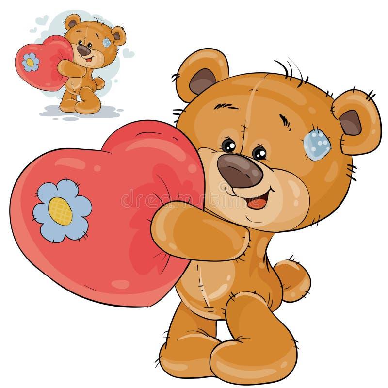 Διανυσματικός teddy αντέχει μια κόκκινη καρδιά στα πόδια του, ομολογώντας στην αγάπη ελεύθερη απεικόνιση δικαιώματος