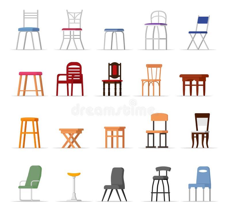 Διανυσματικό άνετο κάθισμα εδρών στο εσωτερικό σχέδιο ύφους του σύγχρονου συνόλου απεικόνισης γραφείο-καρεκλών και πολυθρόνων φρα ελεύθερη απεικόνιση δικαιώματος