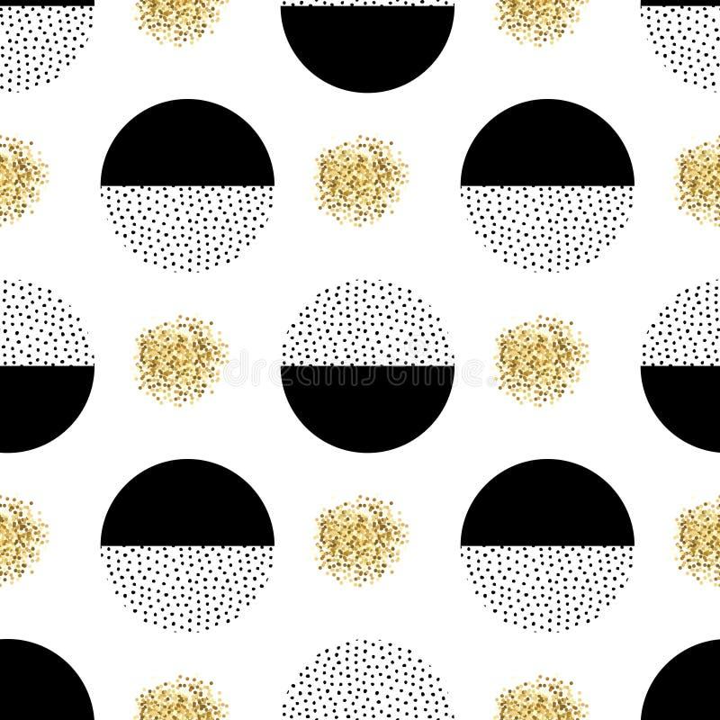 Διανυσματικό άνευ ραφής αναδρομικό σχέδιο της Μέμφιδας με τα στρογγυλά στοιχεία ελεύθερη απεικόνιση δικαιώματος