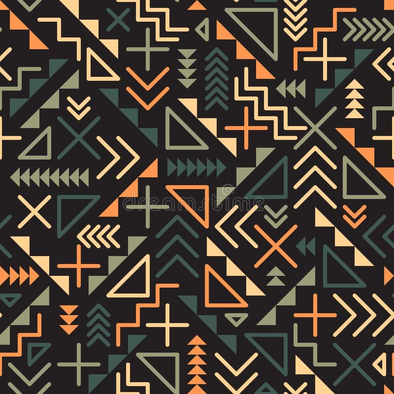 Διανυσματικό άνευ ραφής αναδρομικό Jumble της δεκαετίας του '80 γεωμετρικό γραμμών σχέδιο χρώματος μορφών πράσινο πορτοκαλί στο μ διανυσματική απεικόνιση