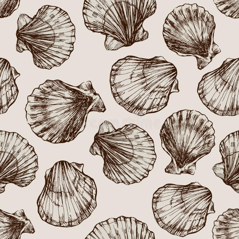 Διανυσματικό άνευ ραφής εκλεκτής ποιότητας σκίτσο των θαλασσινών κοχυλιών στο άσπρο υπόβαθρο Hand-drawn ζώα θάλασσας διανυσματική απεικόνιση