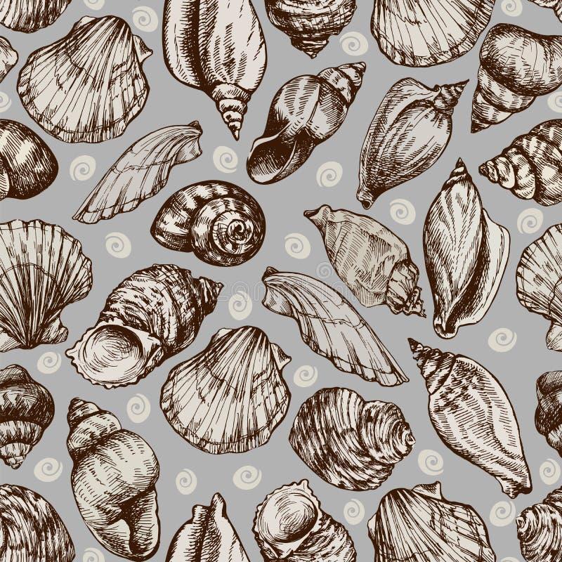 Διανυσματικό άνευ ραφής εκλεκτής ποιότητας σκίτσο των θαλασσινών κοχυλιών που απομονώνεται στο άσπρο υπόβαθρο Hand-drawn ζώα θάλα ελεύθερη απεικόνιση δικαιώματος