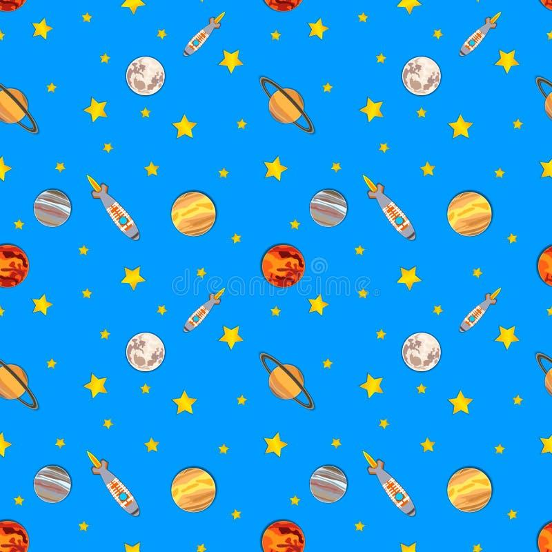 Διανυσματικό άνευ ραφής ζωηρόχρωμο σχέδιο, διαστημόπλοια, αστέρια και πλανήτες κόσμου διανυσματική απεικόνιση