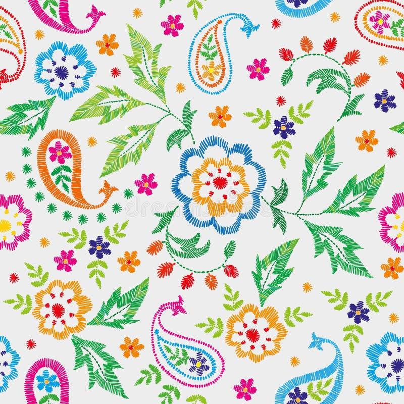 Διανυσματικό άνευ ραφής διακοσμητικό floral σχέδιο κεντητικής, διακόσμηση για το υφαντικό ντεκόρ Βοημίας χειροποίητο υπόβαθρο ύφο διανυσματική απεικόνιση