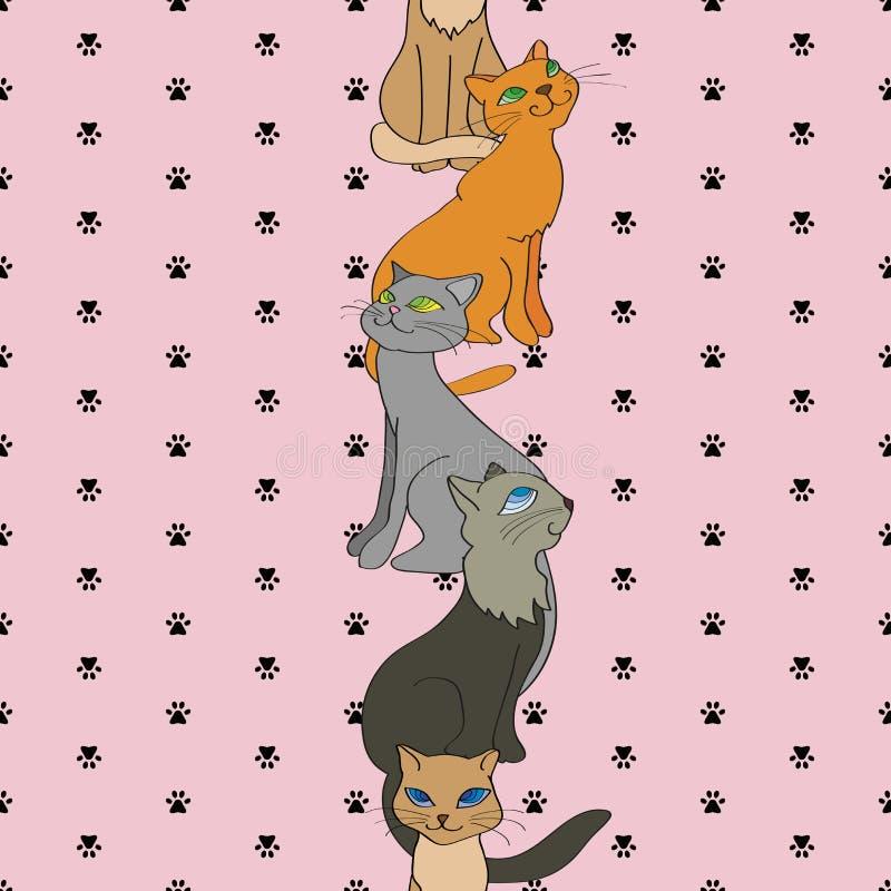 Διανυσματικό άνευ ραφής κάθετο σχέδιο με τις γάτες ελεύθερη απεικόνιση δικαιώματος
