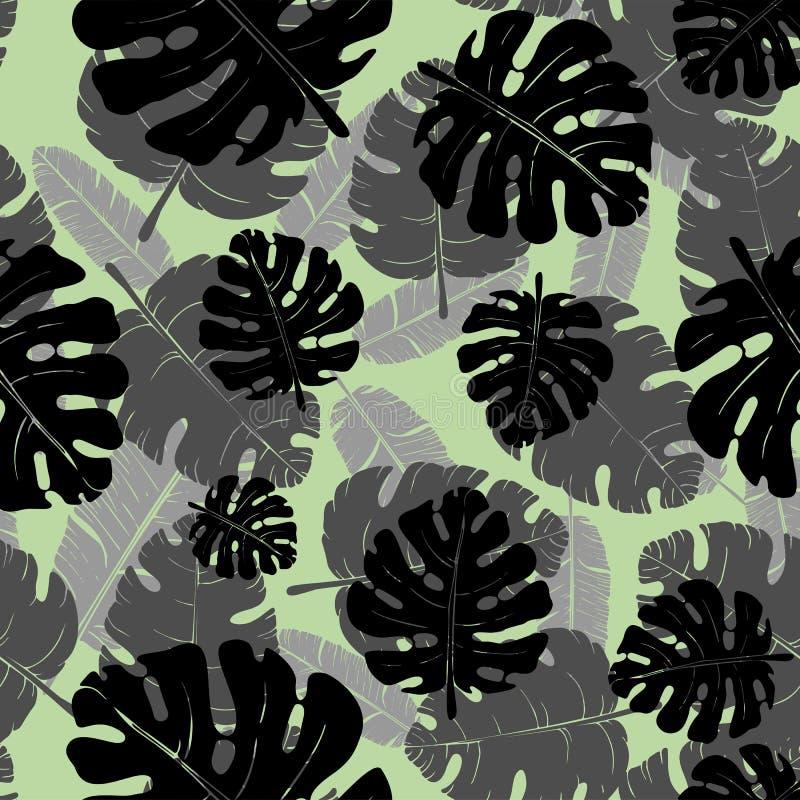 Διανυσματικό άνευ ραφής μονοχρωματικό σχέδιο των φύλλων φοινικών διανυσματική απεικόνιση
