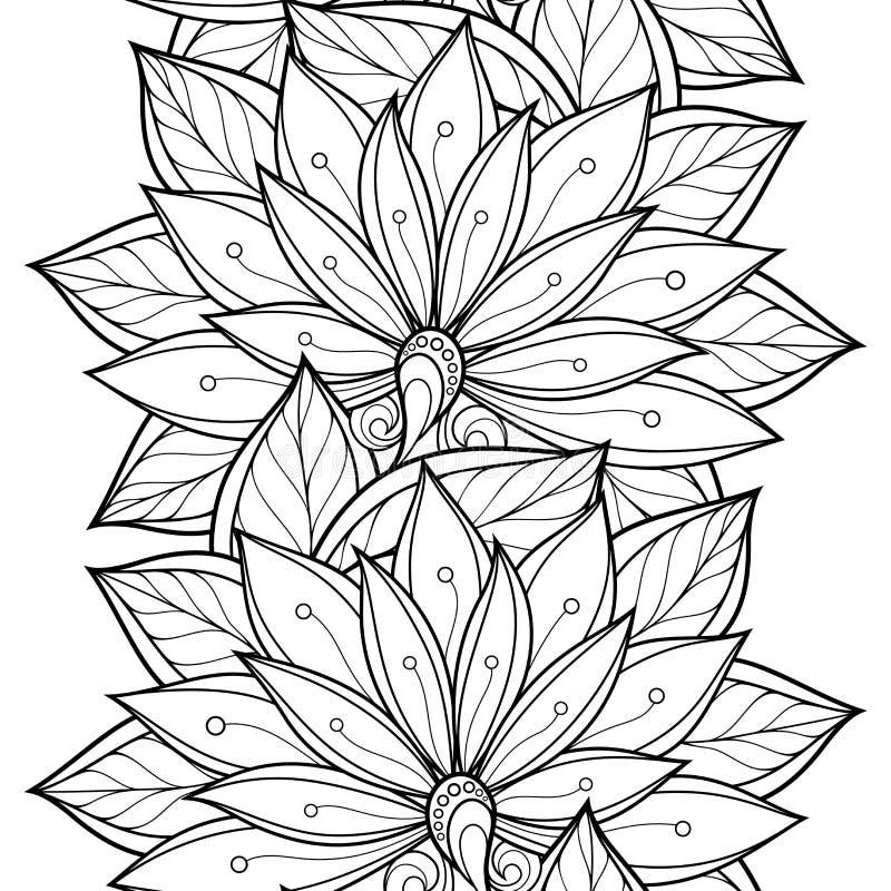 Διανυσματικό άνευ ραφής μονοχρωματικό Floral σχέδιο ελεύθερη απεικόνιση δικαιώματος
