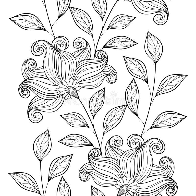 Διανυσματικό άνευ ραφής μονοχρωματικό Floral σχέδιο διανυσματική απεικόνιση