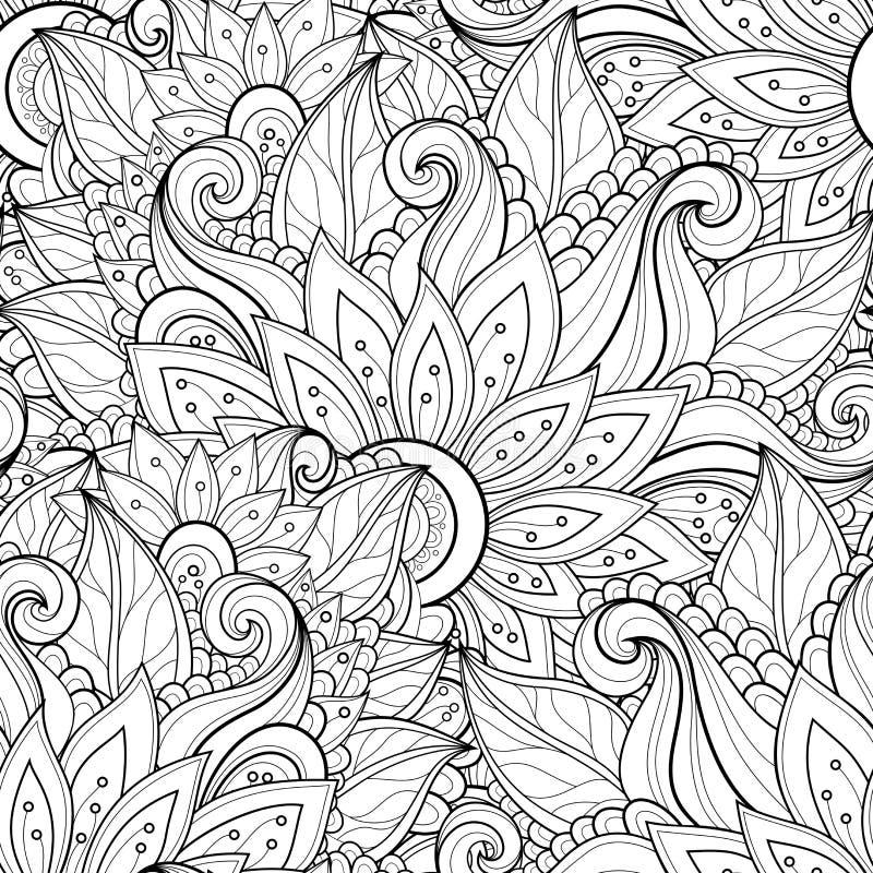 Διανυσματικό άνευ ραφής μονοχρωματικό Floral σχέδιο απεικόνιση αποθεμάτων