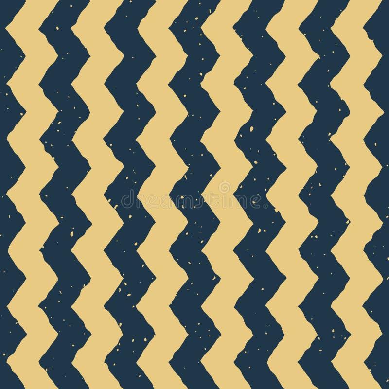 Διανυσματικό άνευ ραφής μπλε κίτρινο χρώματος συρμένο χέρι κάθετο διαστρεβλωμένο τρέκλισμα σχέδιο σιριτιών γραμμών βρώμικο απεικόνιση αποθεμάτων