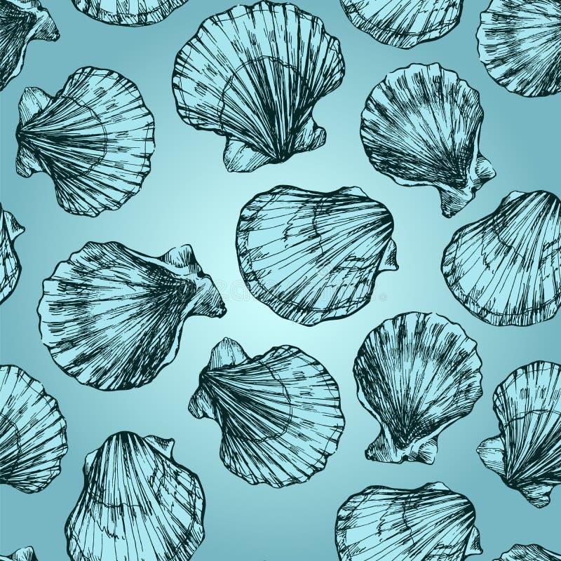 Διανυσματικό άνευ ραφής σκίτσο σχεδίων των θαλασσινών κοχυλιών στο μπλε υπόβαθρο Hand-drawn ζώα θάλασσας απεικόνιση αποθεμάτων