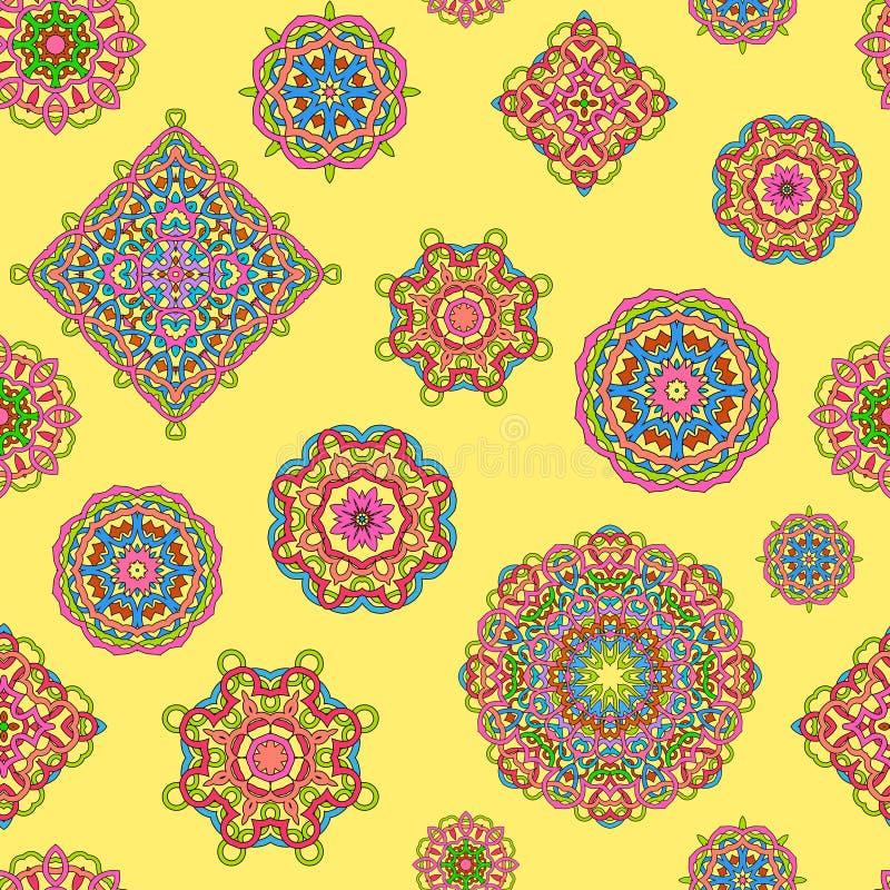 Διανυσματικό άνευ ραφής σχέδιο από τα διαφορετικά περίκομψα φωτεινά mandalas διανυσματική απεικόνιση