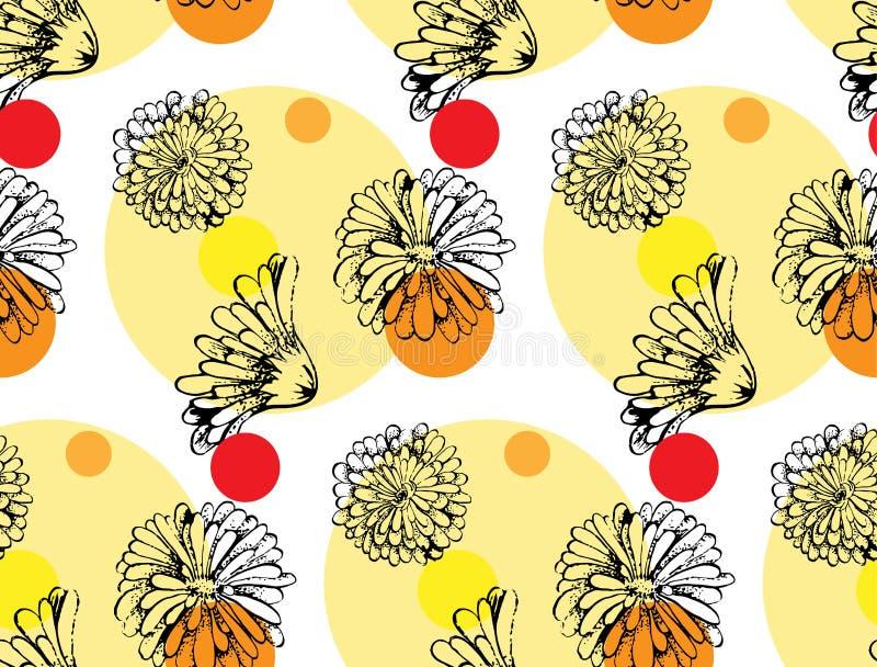 Διανυσματικό άνευ ραφής σχέδιο από τα λουλούδια calendula διανυσματική απεικόνιση
