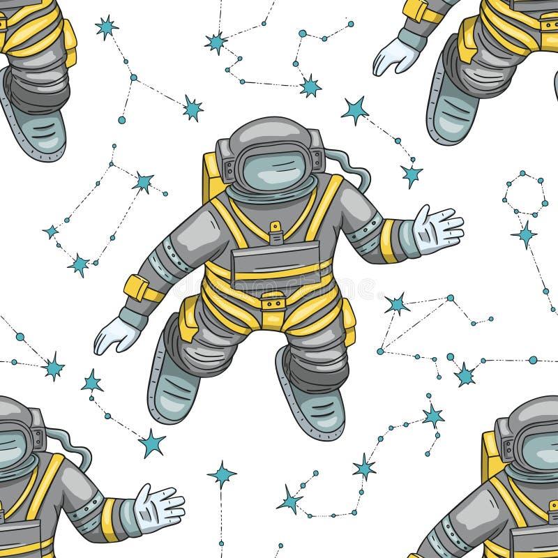 Διανυσματικό άνευ ραφής σχέδιο αστροναυτών ελεύθερη απεικόνιση δικαιώματος
