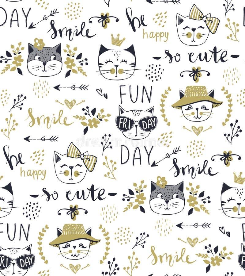 Διανυσματικό άνευ ραφής σχέδιο γατών μόδας Χαριτωμένη απεικόνιση γατακιών μέσα ελεύθερη απεικόνιση δικαιώματος
