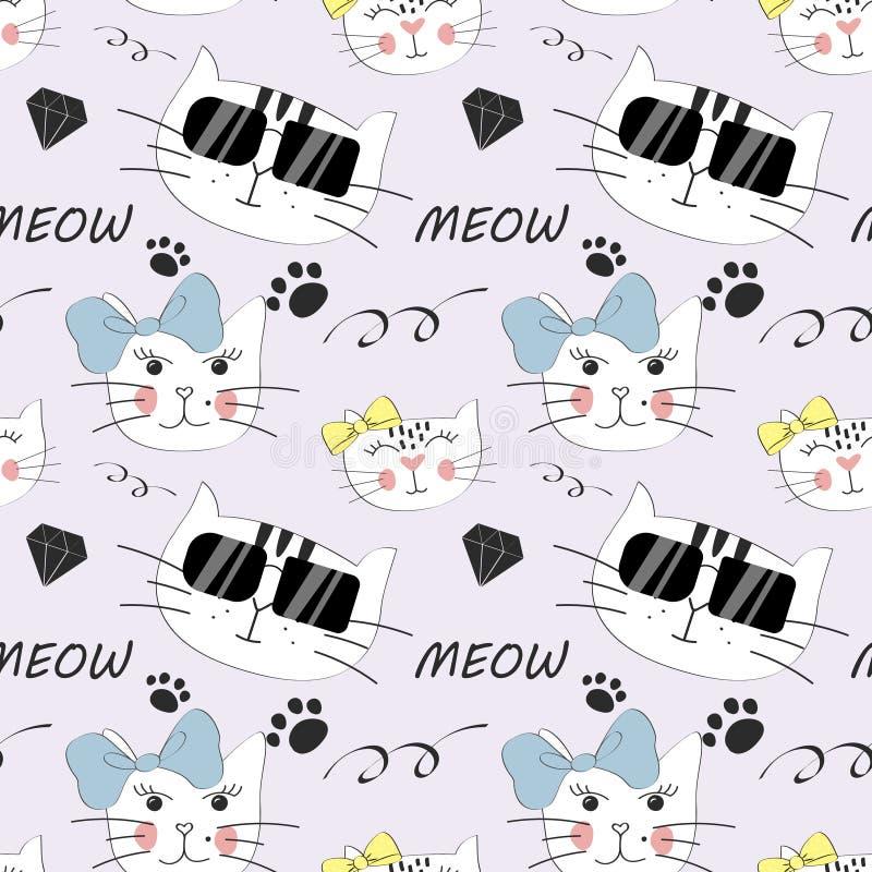 Διανυσματικό άνευ ραφής σχέδιο γατών μόδας Χαριτωμένη απεικόνιση γατακιών στο ύφος σκίτσων ελεύθερη απεικόνιση δικαιώματος