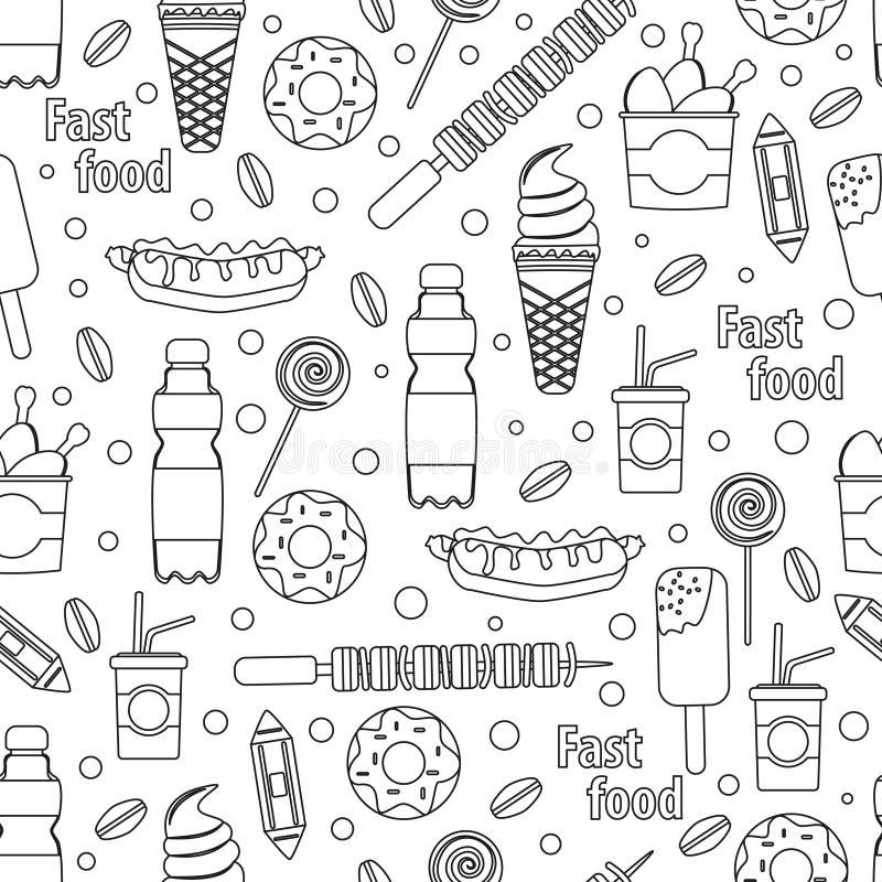 Διανυσματικό άνευ ραφής σχέδιο γρήγορου φαγητού Εστιατόριο περιλήψεων που τίθεται όπως τον καφέ, την πίτσα, το χάμπουργκερ και το ελεύθερη απεικόνιση δικαιώματος