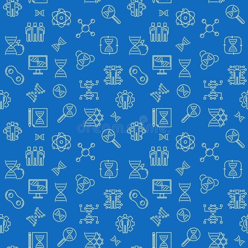 Διανυσματικό άνευ ραφής σχέδιο γραμμών κλωνοποίησης με το μπλε υπόβαθρο απεικόνιση αποθεμάτων