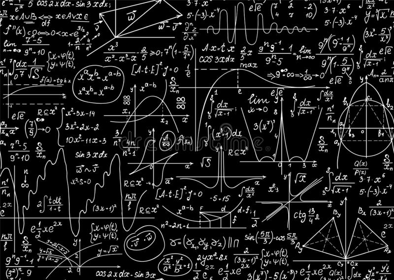 Διανυσματικό άνευ ραφής σχέδιο εκπαίδευσης με τους χειρόγραφους τύπους math και φυσικής, τις εξισώσεις και τους υπολογισμούς διανυσματική απεικόνιση