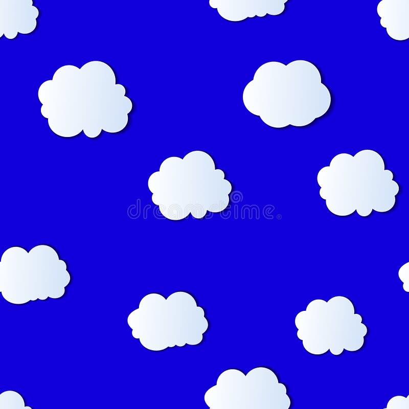 Διανυσματικό άνευ ραφής σχέδιο: Ζωηρόχρωμος νεφελώδης ουρανός, φωτεινό μπλε υπόβαθρο με τα άσπρα σύννεφα διανυσματική απεικόνιση