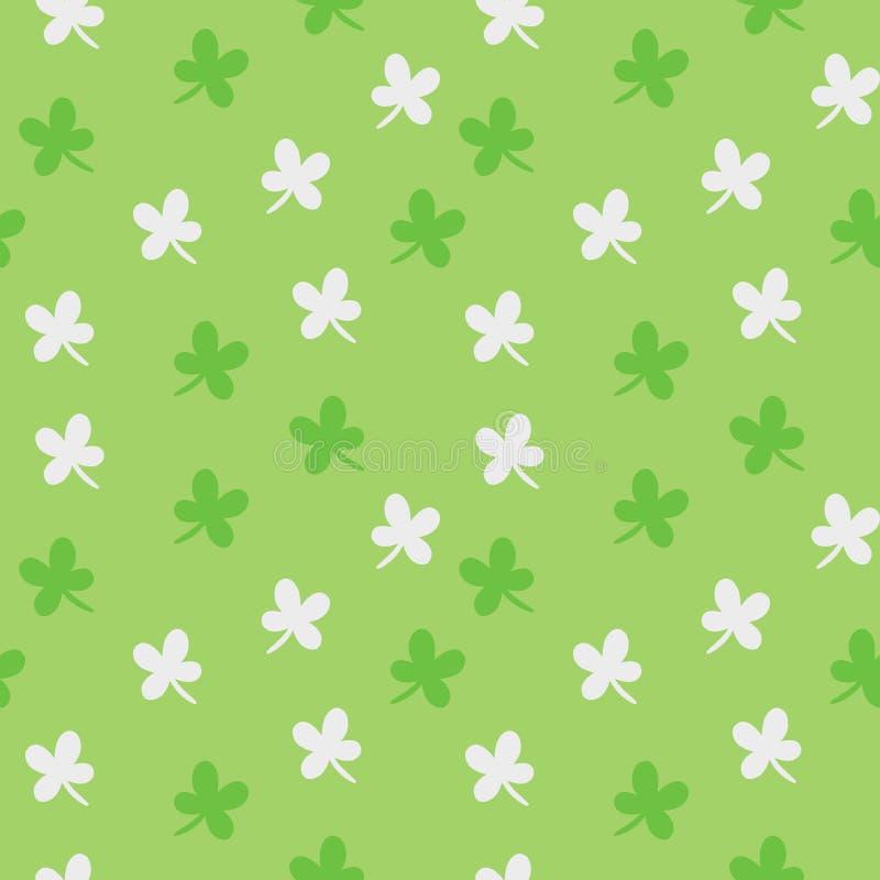 Διανυσματικό άνευ ραφής σχέδιο ημέρας Αγίου Πάτρικ ` s Ζωηρόχρωμο υπόβαθρο πράσινου και άσπρου τριφυλλιού διανυσματική απεικόνιση