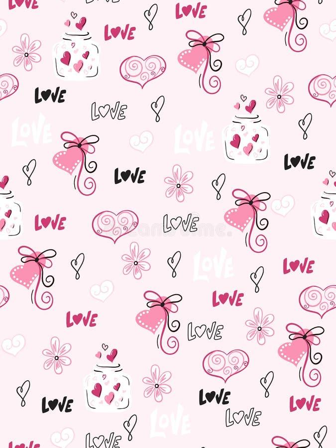 Διανυσματικό άνευ ραφής σχέδιο ημέρας βαλεντίνων ` s από τις συρμένες καρδιές doodle χέρι, τα flovers και τις ετικέτες αγάπης διανυσματική απεικόνιση