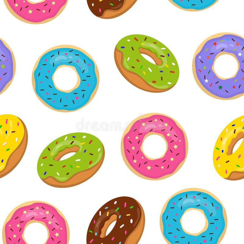 Διανυσματικό άνευ ραφής σχέδιο με ζωηρόχρωμο που βερνικώνεται donuts Το γλυκό αρτοποιείο με ψεκάζει στο άσπρο υπόβαθρο διανυσματική απεικόνιση
