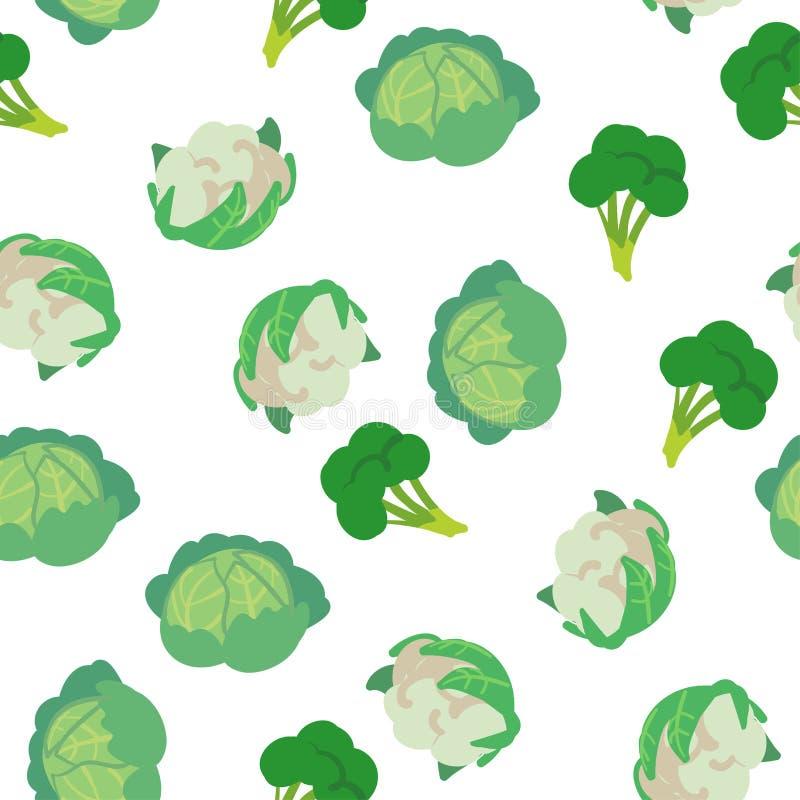 Διανυσματικό άνευ ραφής σχέδιο με συρμένα τα χέρι λαχανικά Προϊόντα αγροτικής αγοράς Λάχανο, μπρόκολο, κουνουπίδι Απλά χορτοφάγα  ελεύθερη απεικόνιση δικαιώματος