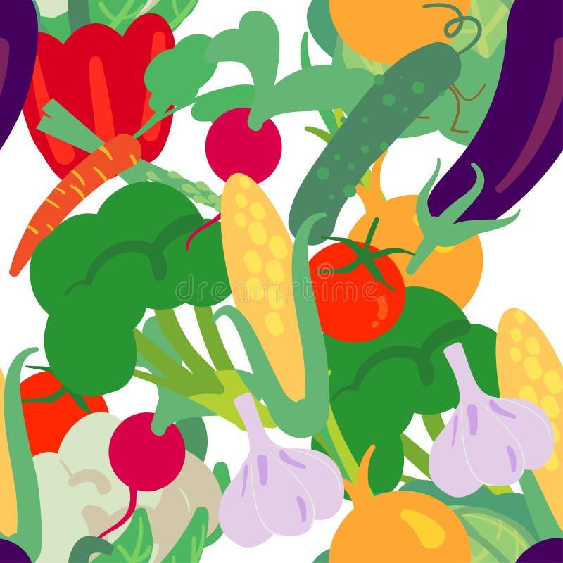 Διανυσματικό άνευ ραφής σχέδιο με συρμένα τα χέρι λαχανικά Προϊόντα αγροτικής αγοράς Μπρόκολο, κουνουπίδι, αγγούρι, ντομάτα, καλα απεικόνιση αποθεμάτων