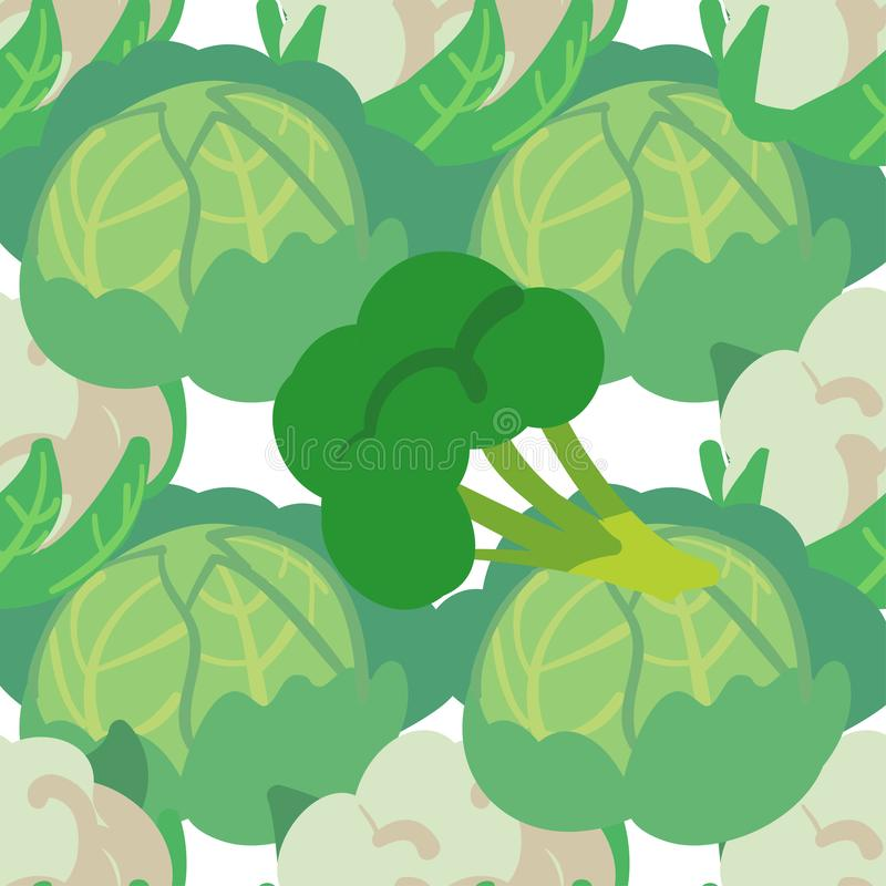 Διανυσματικό άνευ ραφής σχέδιο με συρμένα τα χέρι λαχανικά Προϊόντα αγροτικής αγοράς Λάχανο, μπρόκολο, κουνουπίδι Απλά χορτοφάγα  διανυσματική απεικόνιση