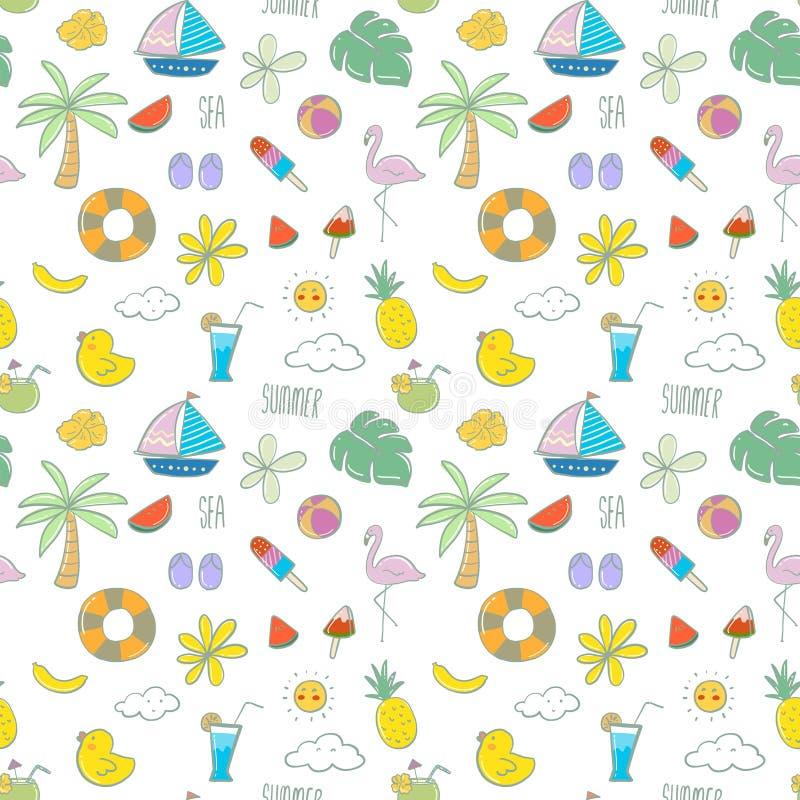 Διανυσματικό άνευ ραφής σχέδιο με συρμένα τα χέρι στοιχεία παραλιών το καλοκαίρι απεικόνιση αποθεμάτων