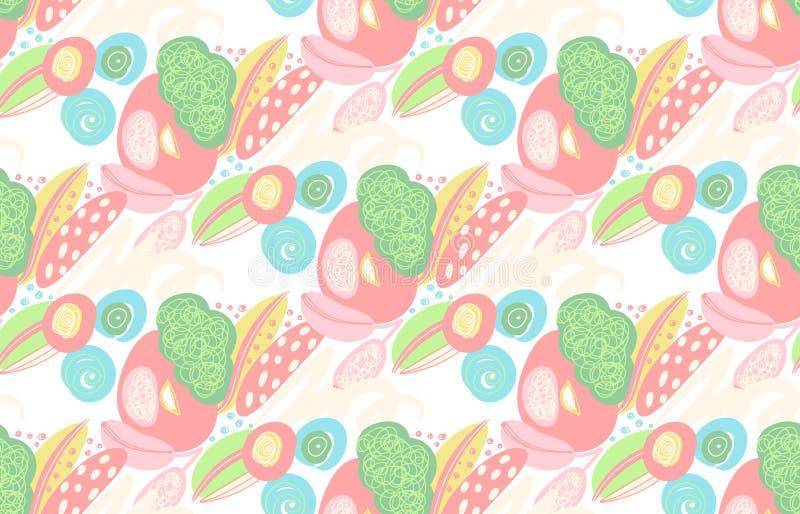 Διανυσματικό άνευ ραφής σχέδιο με συρμένες τις χέρι αφηρημένες μορφές, κακογραφίες, spirales Λεκέδες του χρώματος Σχέδιο με το do ελεύθερη απεικόνιση δικαιώματος