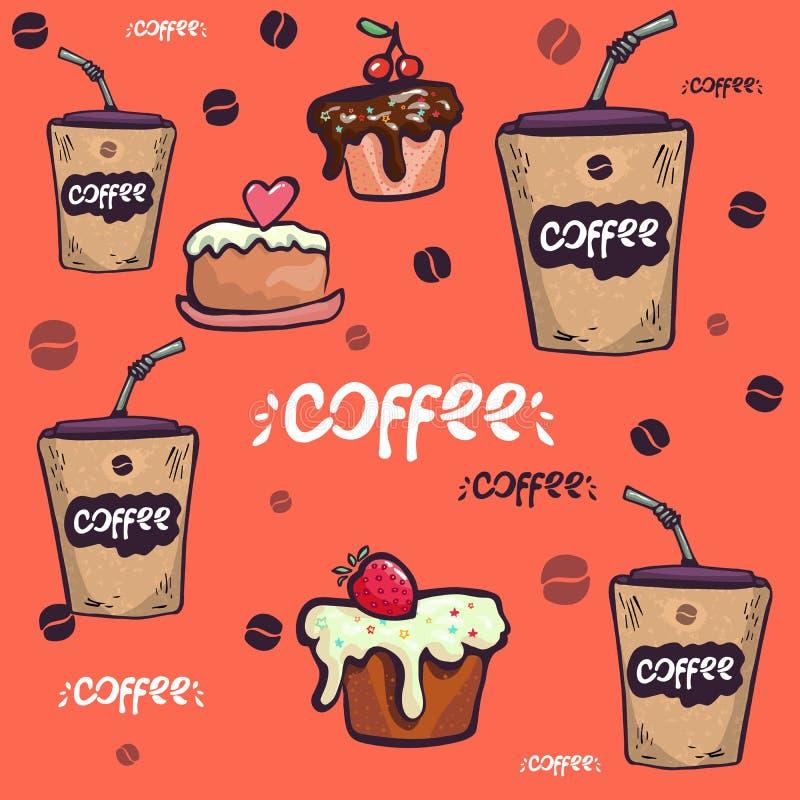 Διανυσματικό άνευ ραφής σχέδιο με συρμένη τη χέρι απεικόνιση καφέ προγευμάτων ή πρωινού για τις επιλογές εστιατορίων ή αρτοποιείω διανυσματική απεικόνιση