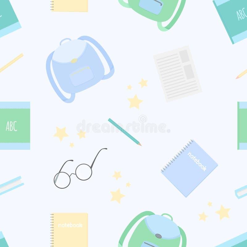 Διανυσματικό άνευ ραφής σχέδιο με σχολικά satchel, τα βιβλία, τα μολύβια, τα γυαλιά και τα αστέρια στο μπλε υπόβαθρο απεικόνιση αποθεμάτων