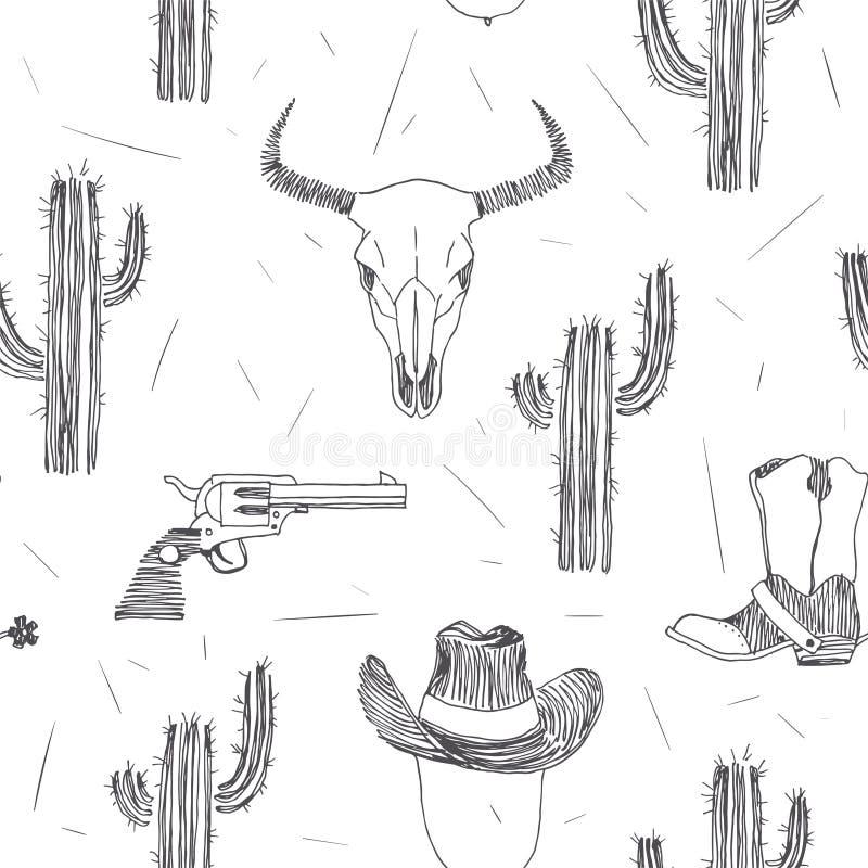 Διανυσματικό άνευ ραφής σχέδιο με τα άγρια δυτικά σύμβολα που απομονώνεται στο λευκό διανυσματική απεικόνιση