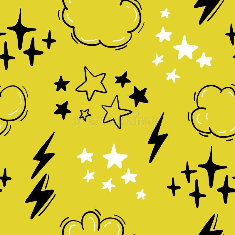 Διανυσματικό άνευ ραφής σχέδιο με τα αστέρια, σύννεφα, συμένος αστραπής υπό εξέταση κωμικό ύφος διανυσματική απεικόνιση