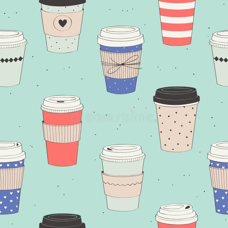 Διανυσματικό άνευ ραφής σχέδιο με τα διάφορα μίας χρήσης φλιτζάνια του καφέ για να πάει ελεύθερη απεικόνιση δικαιώματος