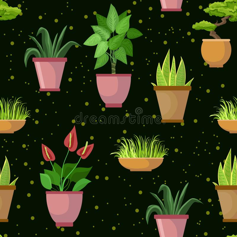 Διανυσματικό άνευ ραφής σχέδιο με τα δοχεία λουλουδιών και houseplants Διακοσμητικό σκοτεινό υπόβαθρο συνόλου απεικόνιση αποθεμάτων