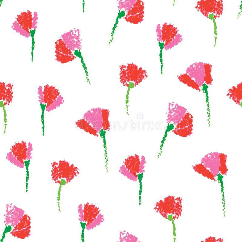 Διανυσματικό άνευ ραφής σχέδιο με τα κατασκευασμένα παιδιάστικα τυποποιημένα λουλούδια ελεύθερη απεικόνιση δικαιώματος