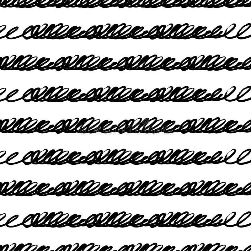 Διανυσματικό άνευ ραφής σχέδιο με τα λωρίδες και τη γραφή βουρτσών Μαύρο χρώμα στο άσπρο υπόβαθρο Χρωματισμένος χέρι grange ρέων απεικόνιση αποθεμάτων