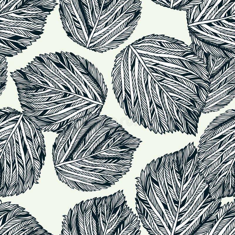 Διανυσματικό άνευ ραφής σχέδιο με τα ριγωτά γραπτά φύλλα διανυσματική απεικόνιση