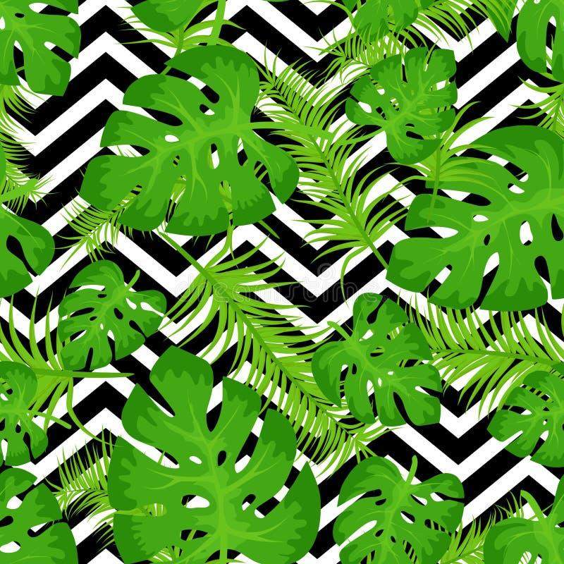 Διανυσματικό άνευ ραφής σχέδιο με τα τροπικά φύλλα στο αφηρημένο άσπρο μαύρο γεωμετρικό υπόβαθρο τρεκλίσματος Χαριτωμένοι φωτεινό διανυσματική απεικόνιση