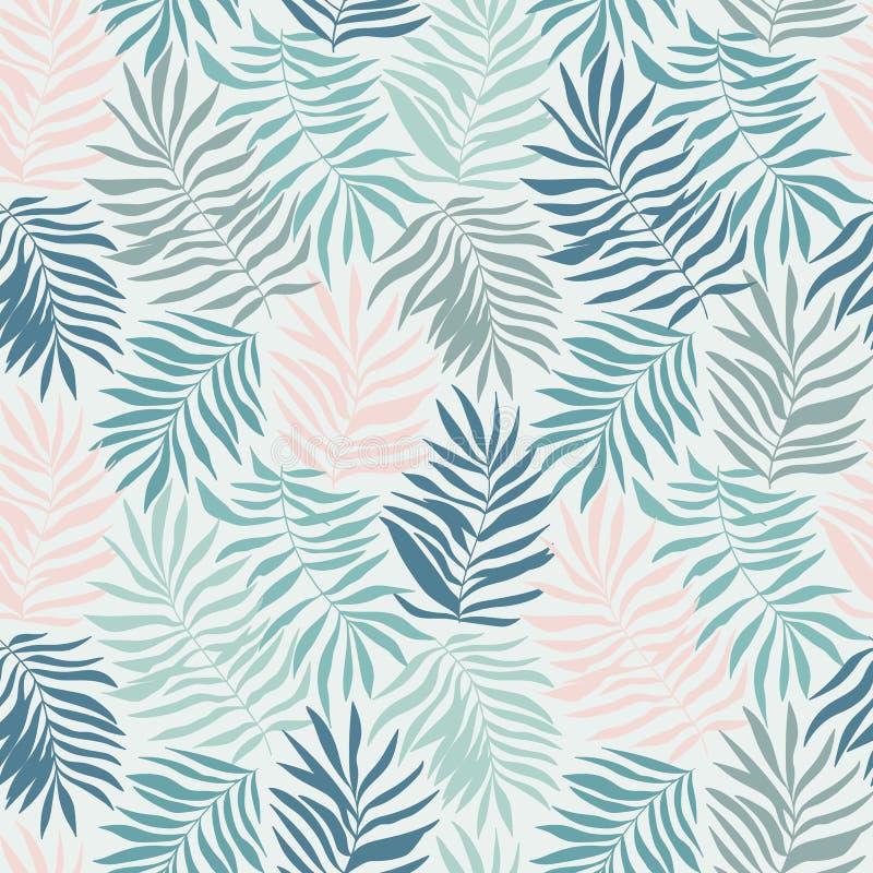 Διανυσματικό άνευ ραφής σχέδιο με τα τροπικά φύλλα Όμορφη τυπωμένη ύλη με συρμένες τις χέρι εξωτικές εγκαταστάσεις διανυσματική απεικόνιση