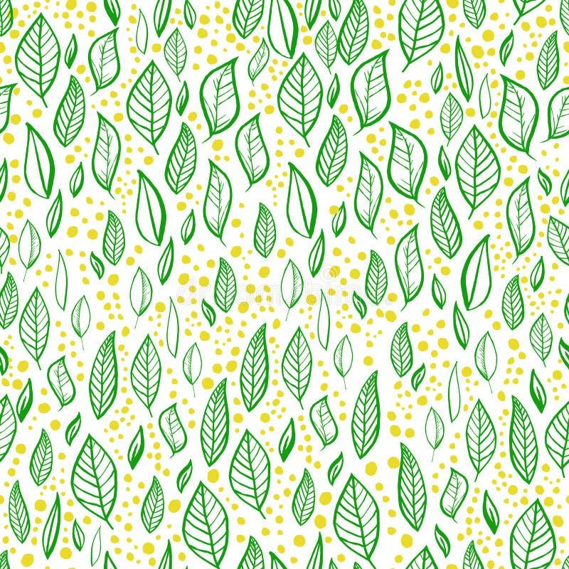 Διανυσματικό άνευ ραφής σχέδιο με τα φύλλα, τους κλάδους και τα σημεία ελεύθερη απεικόνιση δικαιώματος