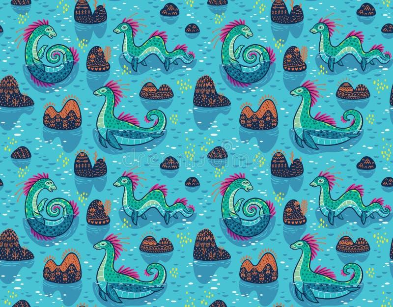 Διανυσματικό άνευ ραφής σχέδιο με τα χαριτωμένα τέρατα του Λοχ Νες και τους διακοσμητικούς λόφους στη λίμνη Μπλε υπόβαθρο επιφάνε απεικόνιση αποθεμάτων