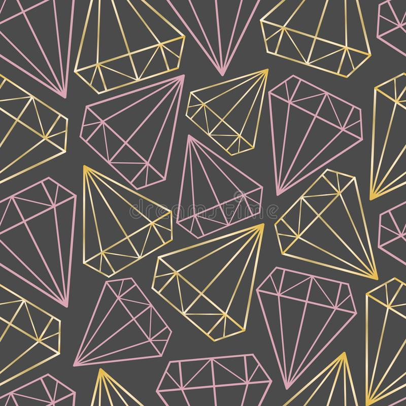 Διανυσματικό άνευ ραφής σχέδιο με τα χρυσά και ρόδινα περιγράμματα των διαμαντιών, πολύτιμοι λίθοι, κρύσταλλα Γεωμετρική τυπωμένη απεικόνιση αποθεμάτων